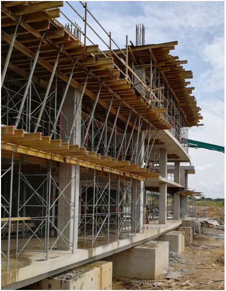External part of the West grandstand (ground floor, mezzanine, 1st and 2nd levels under construction)