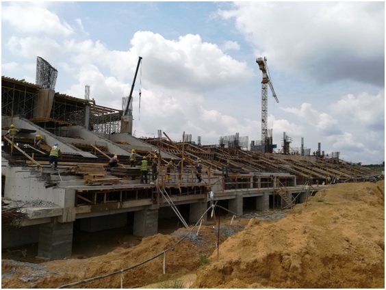 West grand stands under construction
