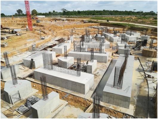 South-West pile caps under construction